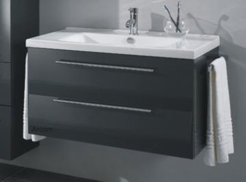 Marlin Bad 3040 - City plus Badmöbel Waschtisch Set 90 cm Eckig | 2 Auszüge