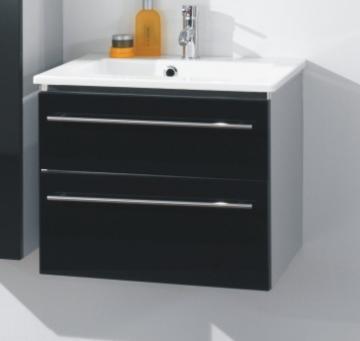 Marlin Bad 3040 - City plus Badmöbel Waschtischset 60 cm Eckig | 2 Auszüge