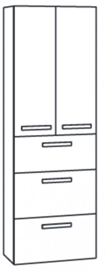 Marlin Bad 3090 - COSMO Hochschrank 2 Türen 3 Auszüge 60 cm