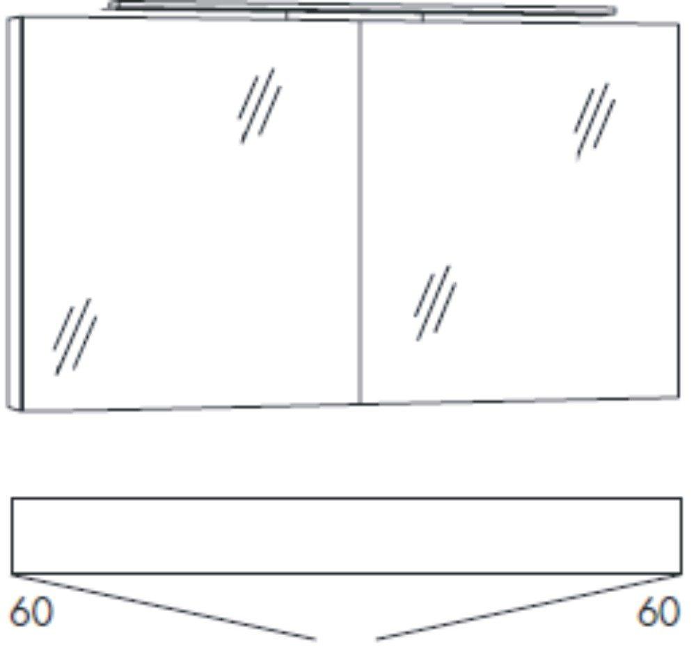 Marlin bad 3090 cosmo spiegelschrank 120 cm for Spiegelschrank bad 120 cm