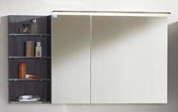 Marlin Bad 3160 - Motion Spiegelschrank A 120 cm mit Regal Links + Aufsatzleuchte