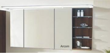 Marlin Bad 3160 - Motion Spiegelschrank A 150 cm mit 3 Türen u. Regal Rechts + Aufsatzleuchte