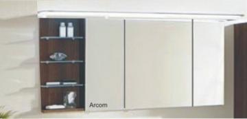Marlin Bad 3160 - Motion Spiegelschrank A 150 cm mit 3 Türen u. Regal Links + Aufsatzleuchte