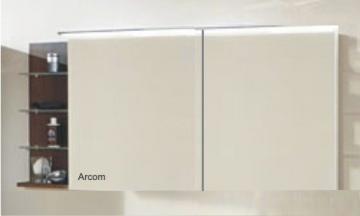 Marlin Bad 3160 - Motion Spiegelschrank A 150 cm mit Regal Links + Aufsatzleuchte