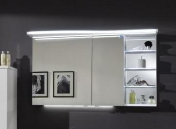 Marlin Bad 3160 - Motion Spiegelschrank B 120 cm mit Regal Rechts + Beleuchtung im Oberboden