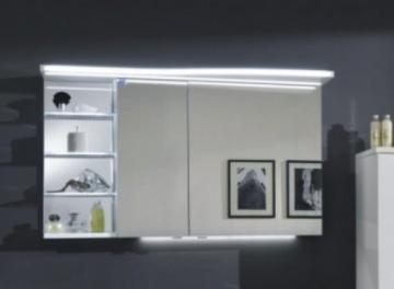 Marlin Bad 3160 - Motion Spiegelschrank B 120 cm mit Regal Links + Beleuchtung im Oberboden