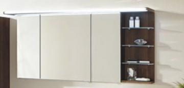 Marlin Bad 3160 - Motion Spiegelschrank B 150 cm mit 3 Türen u. Regal Rechts + Beleuchtung im Oberboden
