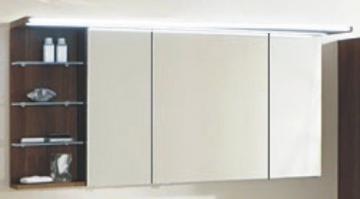 Marlin Bad 3160 - Motion Spiegelschrank B 150 cm mit 3 Türen u. Regal Links + Beleuchtung im Oberboden