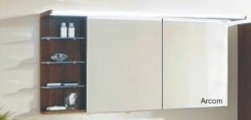 Marlin Bad 3160 - Motion Spiegelschrank B 150 cm mit Regal Links + Beleuchtung im Oberboden