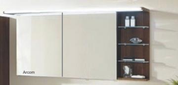 Marlin Bad 3160 - Motion Spiegelschrank B 150 cm mit Regal Rechts + Beleuchtung im Oberboden