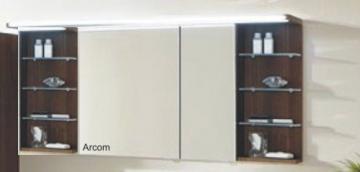 Marlin Bad 3160 - Motion Spiegelschrank B 150 cm Rechts mit 2 Regalen + Beleuchtung im Oberboden