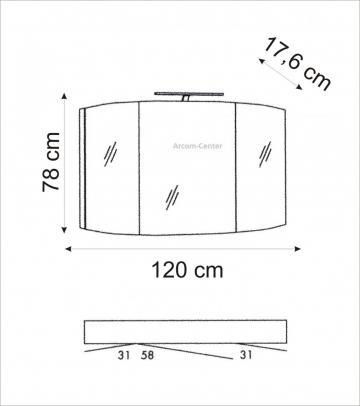 Marlin Bad 3100 - Scala Spiegelschrank 120 cm mit Bogen-Power-LED