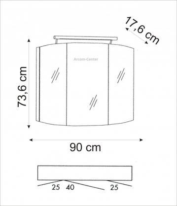Marlin Bad 3100 - Scala Spiegelschrank 90 cm mit LED-Band