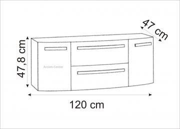 Marlin Bad 3100 - Scala Waschtischunterschrank 120 cm mit 2 Auszügen + 2 Türen