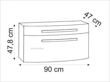 Marlin Bad 3100 - Scala Waschtischunterschrank 90 cm mit 2 Auszügen