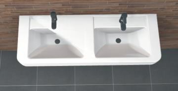 PCON Doppel-Waschtisch A | Geberit Renova Nr. 1 Plan | 130 cm