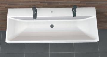 PCON Waschtisch F | Keramag XENO² | 120 cm | 2 Hahnlöcher
