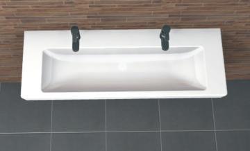 PCON Waschtisch C | Villeroy & Boch Subway 2.0 | 130 cm | 2 Hahnlöcher