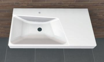 PCON Waschtisch E | Keramag Xeno² asymmetrisch Ablage rechts | 90 cm