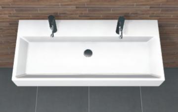 PCON Waschtisch I | Villeroy & Boch Memento | 100 cm | 2 Hahnlöcher | Ohne Clou-Ablauf