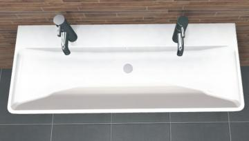 PCON Waschtisch K | Keramag Smyle | 120 cm | 2 Hahnlöcher