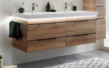 Pelipal Balto Badmöbel 148 cm | Waschtisch mit Unterschrank | Mit schwarzer Dekorleiste
