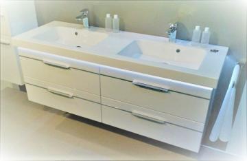 Pelipal Balto Badmöbel 148 cm | Waschtisch mit Unterschrank Set | Mit Chromleiste