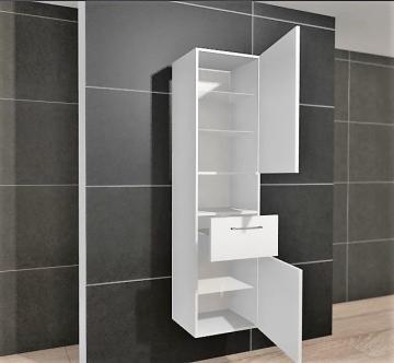 Pelipal PCON Hochschrank | 2 Türen + 1 Auszug + 1 offenes Fach | Breite 45 cm | Höhe 184 cm