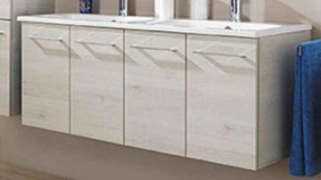 Pelipal Solitaire 9005 WT-Unterschrank K | 4 Türen | 130 cm [Villeroy & Boch Subway 2.0 Doppel-Waschtisch]