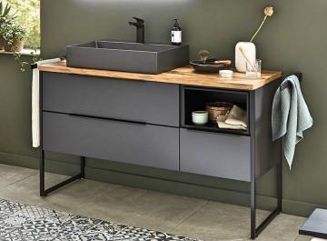Puris Aspekt Badmöbel 130 cm | Waschtisch mit Unterschrank Set A Links