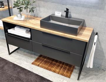 Puris Aspekt Badmöbel 130 cm | Waschtisch mit Unterschrank Set F Rechts