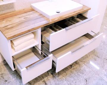 Puris Aspekt Badmöbel 130 cm | Waschtisch mit Unterschrank Set G Rechts