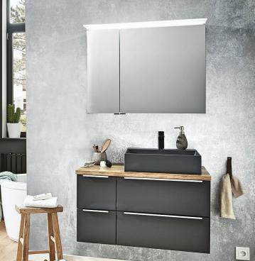 Puris Aspekt Badmöbel 90 cm | Set B - Waschtisch Rechts