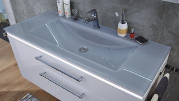 Puris Cool Line 120 cm | Waschtisch Glas Quarzitgrau