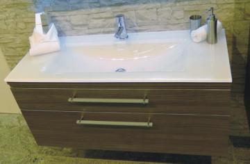 Puris Cool Line 120 cm | Waschtischunterschrank Glas + Stone Plus