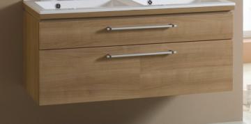 Puris Cool Line 120 cm | Doppel WT-Unterschrank | 2 Auszüge | Glas + Mineralguß