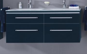 Puris Cool Line 120 cm | Doppel WT-Unterschrank | 4 Auszüge | Glas + Mineralguß