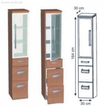 Puris Cool Line Badmöbel Hochschrank Glastür | 30 cm