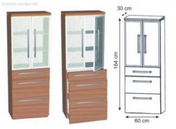 Puris Cool Line Badmöbel Hochschrank Glastür | 60 cm