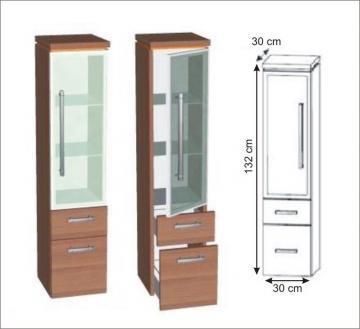 Puris Cool Line Mittelschrank Glastür | 30 cm