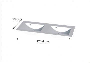 Puris Cool Line Doppelwaschtisch 120 cm | Glas Quarzitgrau