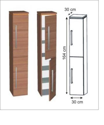 Puris Cool Line Hochschrank 2 Türen 30 cm | Maßvariabel