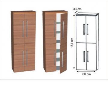 Puris Cool Line Hochschrank 4 Türen 60 cm | Maßvariabel