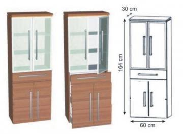 Puris Cool Line Hochschrank Glastür + Wäschekippe 60 cm