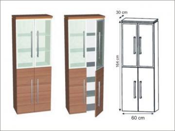 Puris Cool Line Hochschrank Glastüren 60 cm | Maßvariabel