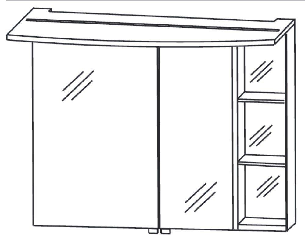Puris Crescendo Badmöbel Set F | 90 cm | Rechts + Regal offen + Flächenleuchte
