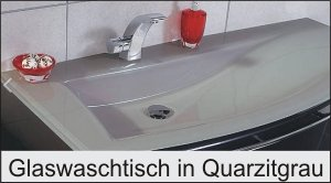 Puris Crescendo Glaswaschtisch Quarzitgrau 140 cm rechts