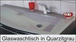Puris Crescendo Glaswaschtisch Quarzitgrau 140 cm links