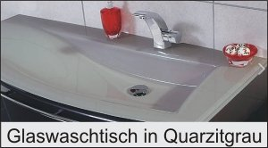 Puris Crescendo Glaswaschtisch Quarzitgrau 90 cm links