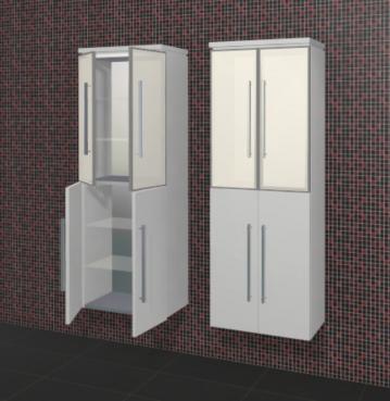 Puris Fine Line Badmöbel Hochschrank + Glastür 60 cm | Maßvariabel